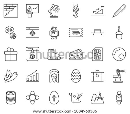 thin line icon set   pen vector