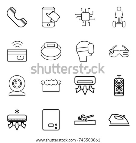 thin line icon set : phone, touch, chip, hoverboard, tap to pay, smart bracelet, virtual mask, glasses, web cam, electrostatic, air conditioning, remote control, kitchen scales, soil cutter, iron
