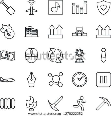Thin Line Icon Set - plane radar vector, mouse, tie, job, fire, run, heart shield, molecule, up side sign, flame disk, equalizer, pause button, update, music, clock, ink pen, office building, cash #1278222352