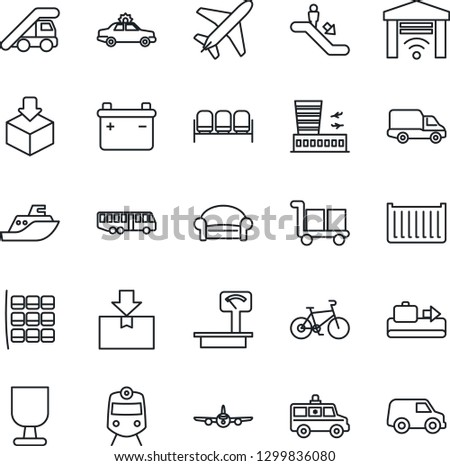 Thin Line Icon Set - plane vector, baggage conveyor, airport bus, train, escalator, waiting area, alarm car, ladder, seat map, building, ambulance, bike, sea shipping, cargo container, delivery
