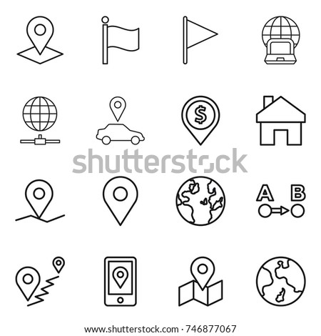 thin line icon set : pointer, flag, notebook globe, connect, car, dollar pin, home, geo, route a to b, mobile location, map, earth
