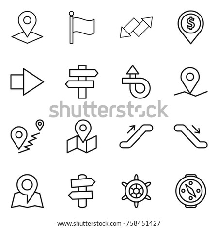 Thin line icon set : pointer, flag, up down arrow, dollar pin, right, singlepost, trip, geo, route, map, escalator, signpost, handwheel, compass