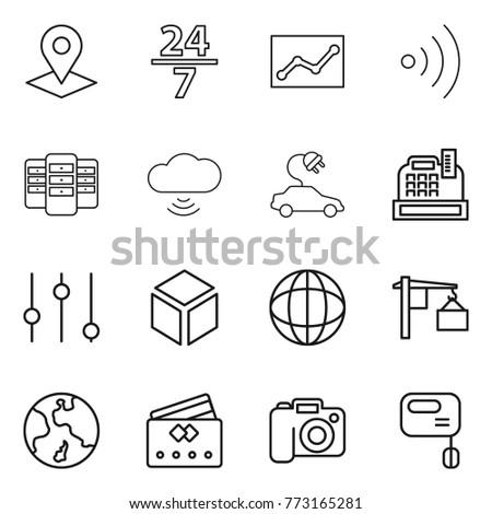 thin line icon set   pointer