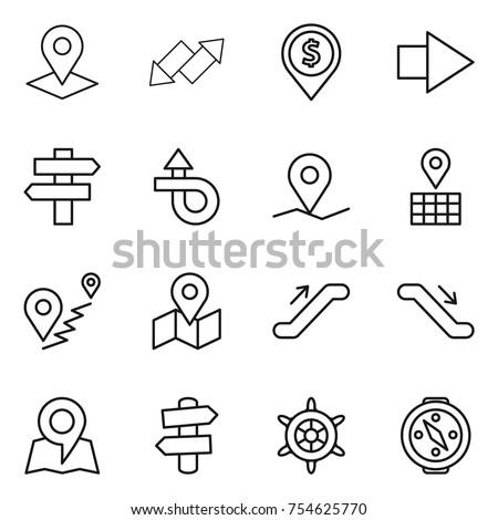 thin line icon set : pointer, up down arrow, dollar pin, right, singlepost, trip, geo, map, route, escalator, signpost, handwheel, compass