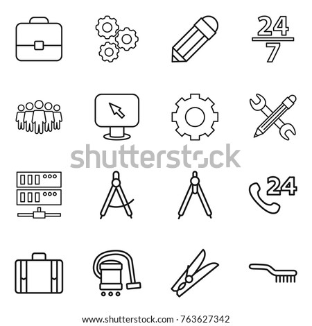 Thin line icon set : portfolio, gear, pencil, 24 7, team, monitor arrow, wrench, server, draw compass, drawing compasses, phone, suitcase, vacuum cleaner, clothespin, brush