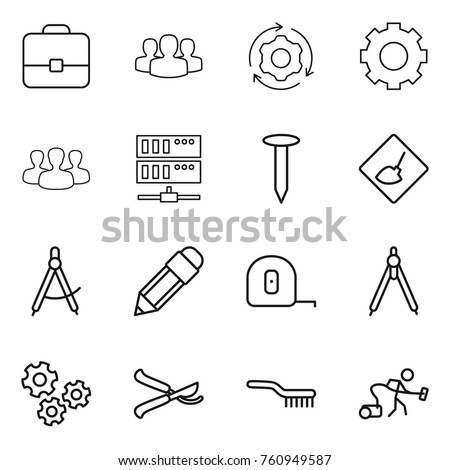 Thin line icon set : portfolio, group, around gear, server, nail, under construction, draw compass, pencil, measuring tape, drawing compasses, gears, pruner, brush, vacuum cleaner