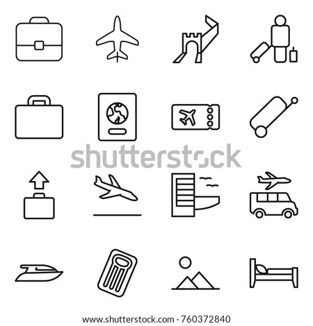Thin line icon set : portfolio, plane, greate wall, passenger, suitcase, passport, ticket, baggage, arrival, hotel, transfer, yacht, inflatable mattress, landscape, bed