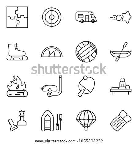 thin line icon set - queen pawn vector, camper, massage, puzzle, volleyball, paintball, fire, canoe, skates, target, paraplane, diving, tent, ping pong, boat, inflatable mattress