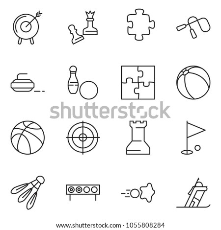 thin line icon set - queen pawn vector, motivation, puzzle, basketball, ball, paintball, jump rope, golf hole, bowling, biathlon, target, curling, chess rock, shuttlecock