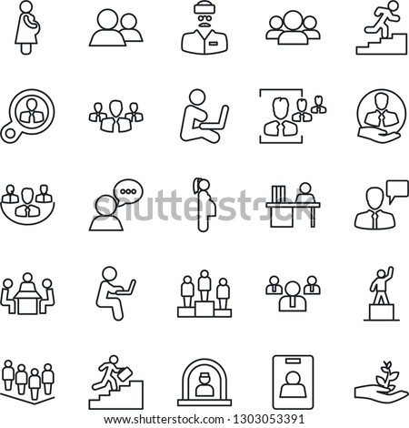 Thin Line Icon Set - reception vector, speaking man, pedestal, team, doctor, pregnancy, client, speaker, group, company, identity card, hr, manager desk, meeting, career ladder, consumer search