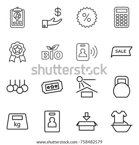 Thin line icon set : report, investment, percent, calculator, medal, bio, pass card, sale, ticket, sun potection, heavy, identity, package, handle washing