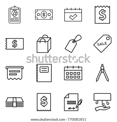 Thin line icon set : report, money, calendar, receipt, shopping bag, label, sale, atm, copybook, drawing compasses, tax, inventory, hand dryer