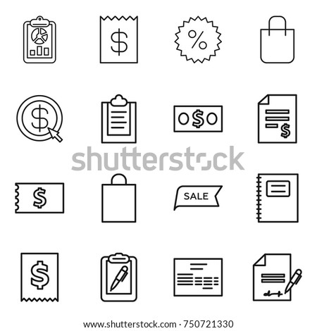 thin line icon set : report, receipt, percent, shopping bag, dollar arrow, clipboard, money, account balance, sale, copybook, tax, pen, invoice, inventory