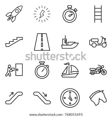thin line icon set   rocket