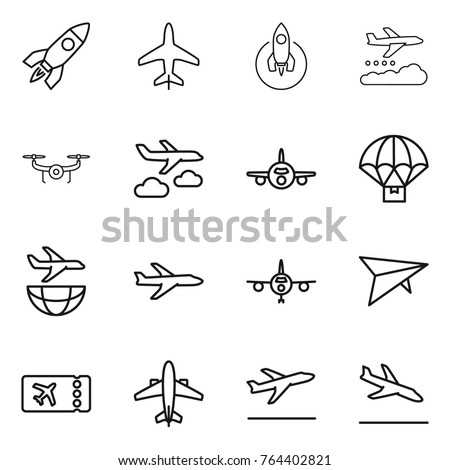 Thin line icon set : rocket, plane, weather management, drone, journey, parachute delivery, shipping, deltaplane, ticket, airplane, departure, arrival