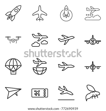 Thin line icon set : rocket, plane, weather management, drone, journey, parachute delivery, shipping, deltaplane, ticket, arrival, wasp