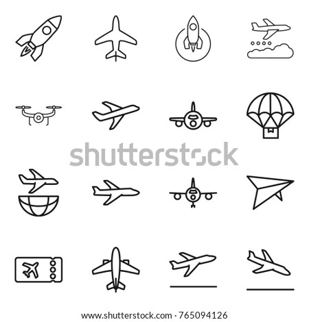 Thin line icon set : rocket, plane, weather management, drone, parachute delivery, shipping, deltaplane, ticket, airplane, departure, arrival