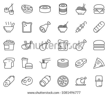 thin line icon set - sausage vector, pasta, pizza, chicken, steak, nuggets bucket, cheese toast, hamburger, kebab, soup, ham, omelette, sushi, canned food, fast, Chinese, pancakes, bread, pan