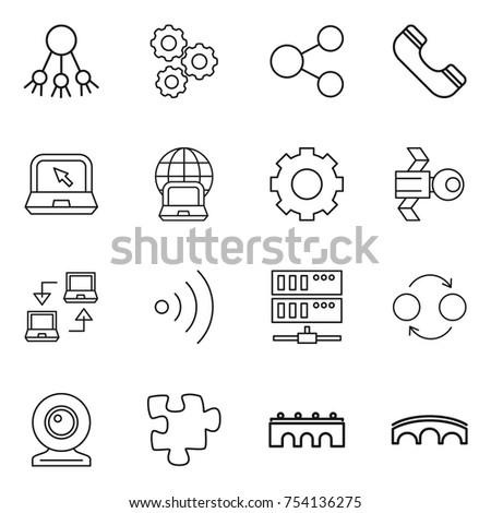 thin line icon set : share, gear, phone, notebook, globe, satellite, connect, wireless, server, quantum bond, web cam, puzzle, bridge