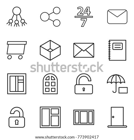 thin line icon set   share  24