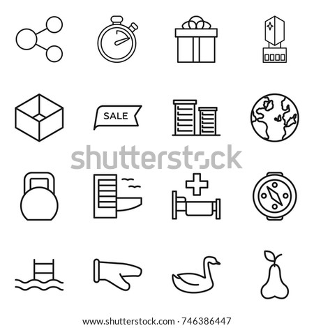 thin line icon set   share