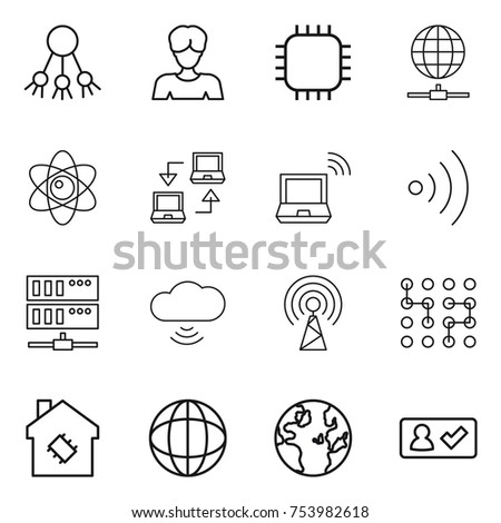 thin line icon set : share, woman, chip, globe connect, atom, notebook, wireless, server, cloud, antenna, smart house, check in