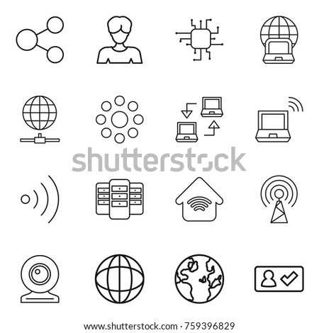 Thin line icon set : share, woman, chip, notebook globe, connect, round around, wireless, server, home, antenna, web cam, check in