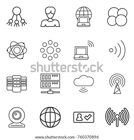 Thin line icon set : share, woman, notebook globe, atom core, round around, wireless, server, cloud, antenna, web cam, check in