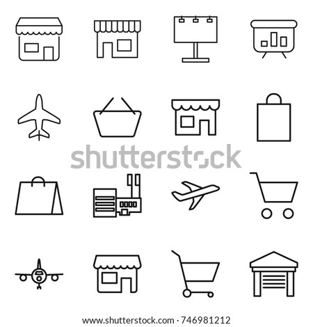 thin line icon set : shop, billboard, presentation, plane, basket, shopping bag, mall, cart, garage