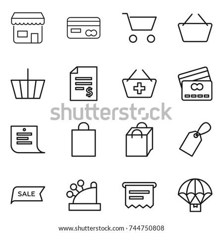 thin line icon set : shop, card, cart, basket, account balance, add to, credit, shopping list, bag, label, sale, cashbox, atm receipt, parachute delivery