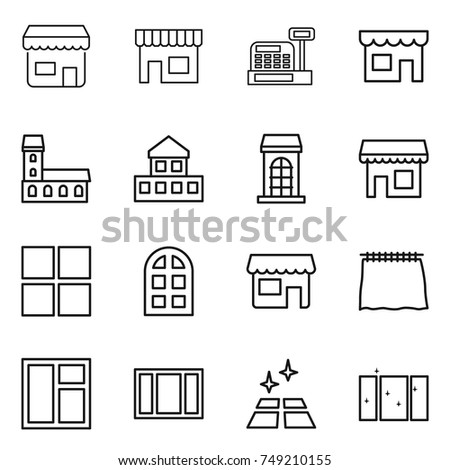thin line icon set : shop, cashbox, mansion, cottage, building, window, arch, curtain, clean floor