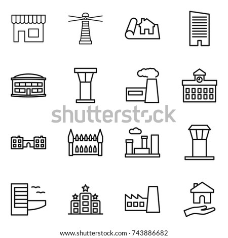 thin line icon set : shop, lighthouse, project, skyscraper, airport building, tower, factory, university, school, gothic architecture, city, hotel, housing