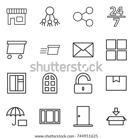 thin line icon set   shop