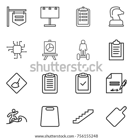 Thin line icon set : shop signboard, billboard, clipboard, chess horse, chip, presentation, hoverboard, under construction, check, inventory, surfer, cutting board, stairs