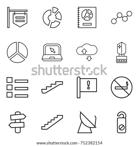 thin line icon set : shop signboard, circle diagram, annual report, graph, notebook, cloude service, crystall memory, list, stairs, important flag, no smoking, signpost, satellite antenna