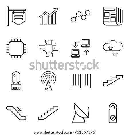 thin line icon set   shop
