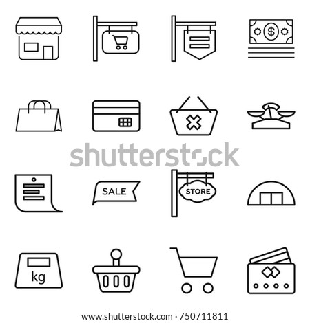 thin line icon set : shop, signboard, money, shopping bag, credit card, delete cart, scales, list, sale, store, hangare, heavy, basket