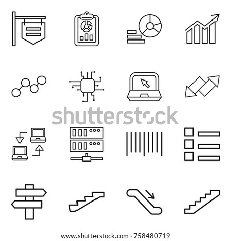 Thin line icon set : shop signboard, report, diagram, graph, chip, notebook, up down arrow, connect, server, bar code, list, singlepost, stairs, escalator