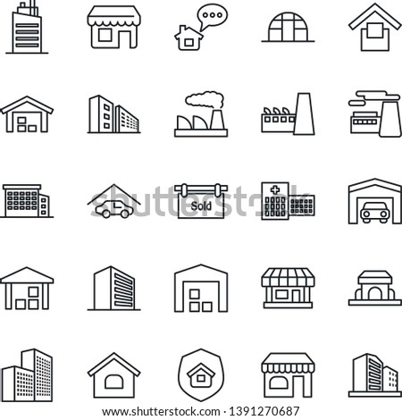 Thin Line Icon Set - shop vector, office building, factory, greenhouse, hospital, store, warehouse storage, house, garage, sold signboard, city, estate insurance, cafe, home message, storefront