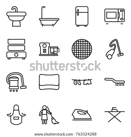 Thin line icon set : sink, bath, fridge, microwave oven, double boiler, food processor, sieve, vacuum cleaner, sponge, drying clothe, brush, apron, brooming, iron, board
