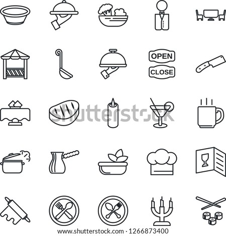 Thin Line Icon Set - spoon and fork vector, coffee, waiter, restaurant table, cafe, cook hat, wine card, cocktail, salad, candle, open close, alcove, steak, ladle, bowl, rolling pin, knife, turkish