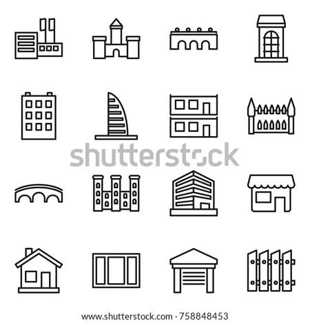 Thin line icon set : store, castle, bridge, building, skyscraper, modular house, gothic architecture, palace, office, shop, home, window, garage, fence