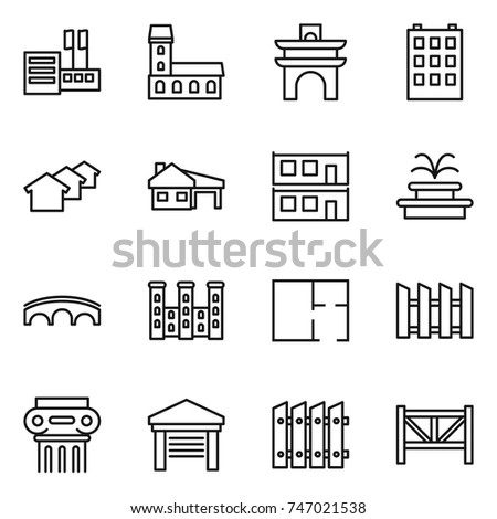 thin line icon set : store, mansion, arch, building, houses, house with garage, modular, fountain, bridge, palace, plan, fence, antique column, farm