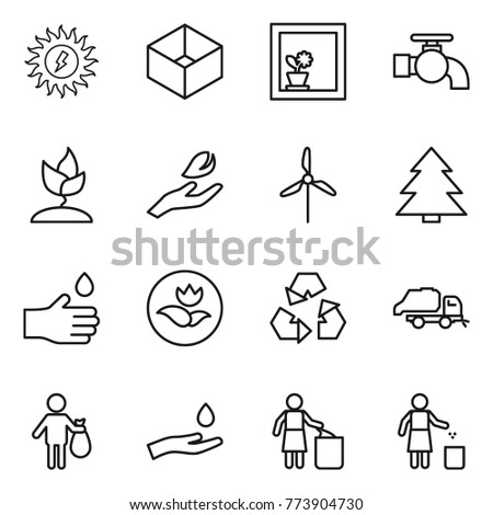 Thin line icon set : sun power, box, flower in window, water tap, sprouting, hand leaf, windmill, spruce, drop, ecology, recycling, trash truck, and, garbage bin