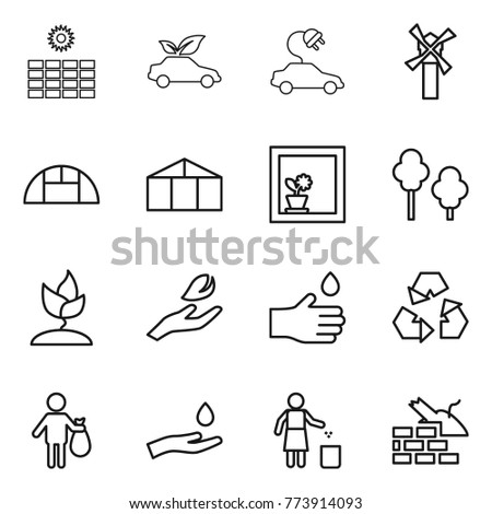 Thin line icon set : sun power, eco car, electric, windmill, greenhouse, flower in window, trees, sprouting, hand leaf, drop, recycling, trash, and, garbage bin, construct
