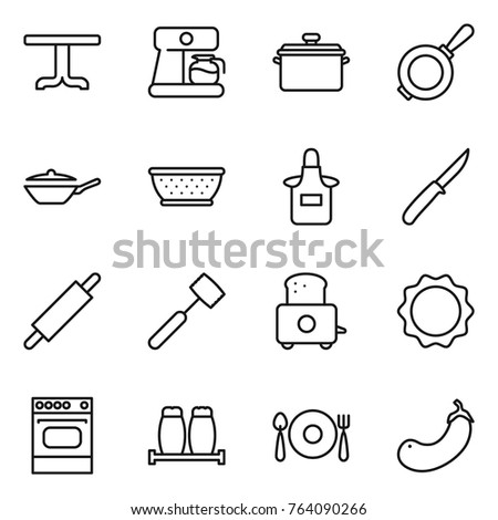 Thin line icon set : table, coffee maker, pan, colander, apron, knife, rolling pin, meat hammer, toaster, induction oven, salt pepper, fork spoon plate, eggplant