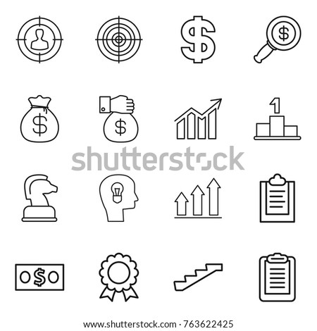 Thin line icon set : target audience, dollar, magnifier, money bag, gift, diagram, pedestal, chess horse, bulb head, graph up, clipboard, medal, stairs
