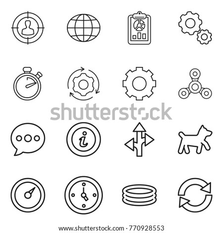 Thin line icon set : target audience, globe, report, gear, stopwatch, around, spinner, balloon, info, route, dog, barometer, watch, inflatable pool, reload #770928553
