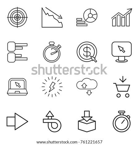 Thin line icon set : target, crisis, diagram, stopwatch, dollar arrow, monitor, notebook, lightning, cloude service, add to cart, right, trip, package #761221657