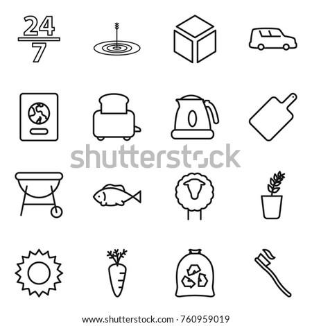 thin line icon set   24 7